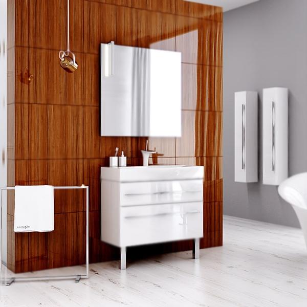 Милан 80 БелаяМебель для ванной<br>Тумба под раковину Aqwella Милан 80 Mil.01.08/2n/W белая, с глянцевой поверхностью, с двумя выдвижными ящиками, с двумя хромированными ножками, для использования в ванных комнатах с повышенной влажностью. <br>Материал: высококачественный испанский МДФ (FINSA). <br>Покрытие: высокоглянцевая эмаль. <br>Отделка внутренних элементов: Eolo цвет под ткань.<br>Экологически чистые материалы.<br>Ручки: вытянутые, хромированные.<br>Фурнитура Blum: надежность идолговечность.<br>Монтаж: комбинированный. <br>Крепление к стене: два навеса. <br>Дополнительные напольные опоры: две ножки. <br>Отделения:<br>верхнее: выдвижной ящик, подвижные пластиковые разделители;<br>нижнее: выдвижной ящик, один отсек.<br>Стеклянные боковые стенки ящиков.<br>Система полного выдвижения и мягкого закрывания (Blum).<br>В комплекте поставки:<br>тумба.<br>