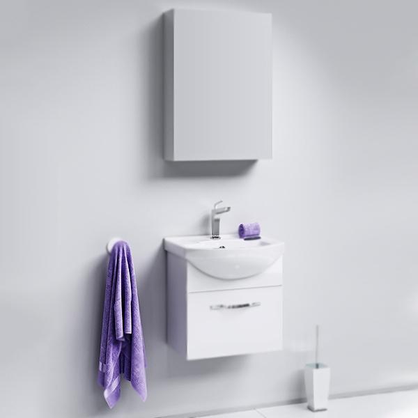 Аллегро 50 подвесная БелаяМебель для ванной<br>Подвесная тумба под раковину Aqwella Аллегро 50 Agr.01.05/1 белая, с глянцевой поверхностью, с одним выдвижным ящиком с хромированной ручкой, для использования в ванных комнатах с повышенной влажностью. <br>Гармония, удобство и функциональность.<br>Материал: МДФ европейского производства.<br>Покрытие: пять слоев глянцевой белоснежной эмали.<br>Технология ультрафиолетового отверждения.<br>Идеально ровная и устойчивая к механическим повреждениям поверхность.<br>Внутреняя отделка: ДСП со структурой светлого дерева.<br>Лазерное нанесение кромки на все элементы из ДСП.<br>Экологически чистые материалы, сертификат качества: ISO 9001:2000.<br>Фурнитура Blum: надежность и долговечность. <br>Монтаж: подвесной, крепление к стене.<br>Усиленные навесы с ответными планками (CАMAR, Италия).<br>Максимальная нагрузка на навесы: до 200 кг.<br>Отделение:<br>выдвижной ящик, один отсек.<br>Скрытые направляющие с системой мягкого закрывания (Blum).<br>Динамическая нагрузка на ящик: до 30 кг.<br>В комплекте поставки:<br>тумба.<br>