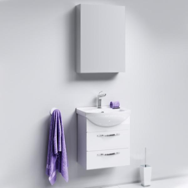 Аллегро 50 2 ящика подвесная БелаяМебель для ванной<br>Подвесная тумба под раковину Aqwella Аллегро 50 Agr.01.05/2 белая, с глянцевой поверхностью, с двумя выдвижными ящиками с хромированными ручками, для использования в ванных комнатах с повышенной влажностью. <br>Гармония, удобство и функциональность.<br>Материал: МДФ европейского производства.<br>Покрытие: пять слоев глянцевой белоснежной эмали.<br>Технология ультрафиолетового отверждения.<br>Идеально ровная и устойчивая к механическим повреждениям поверхность.<br>Внутреняя отделка: ДСП со структурой светлого дерева.<br>Лазерное нанесение кромки на все элементы из ДСП.<br>Экологически чистые материалы, сертификат качества: ISO 9001:2000.<br>Фурнитура Blum: надежность и долговечность. <br>Монтаж: подвесной, крепление к стене.<br>Усиленные навесы с ответными планками (CАMAR, Италия).<br>Максимальная нагрузка на навесы: до 200 кг.<br>Отделения:<br>верхнее: выдвижной ящик, два отсека;<br>нижнее: выдвижной ящик, один отсек.<br>Скрытые направляющие с системой мягкого закрывания (Blum).<br>Динамическая нагрузка на ящик: до 30 кг.<br>В комплекте поставки:<br>тумба.<br>