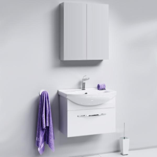 Аллегро 65 подвесная БелаяМебель для ванной<br>Подвесная тумба под раковину Aqwella Аллегро 65 Agr.01.06/1 белая, с глянцевой поверхностью, с одним выдвижным ящиком с хромированной ручкой, для использования в ванных комнатах с повышенной влажностью. <br>Гармония, удобство и функциональность.<br>Материал: МДФ европейского производства.<br>Покрытие: пять слоев глянцевой белоснежной эмали.<br>Технология ультрафиолетового отверждения.<br>Идеально ровная и устойчивая к механическим повреждениям поверхность.<br>Внутреняя отделка: ДСП со структурой светлого дерева.<br>Лазерное нанесение кромки на все элементы из ДСП.<br>Экологически чистые материалы, сертификат качества: ISO 9001:2000.<br>Фурнитура Blum: надежность и долговечность. <br>Монтаж: подвесной, крепление к стене.<br>Усиленные навесы с ответными планками (CАMAR, Италия).<br>Максимальная нагрузка на навесы: до 200 кг.<br>Отделение:<br>выдвижной ящик, один отсек.<br>Скрытые направляющие с системой мягкого закрывания (Blum).<br>Динамическая нагрузка на ящик: до 30 кг.<br>В комплекте поставки:<br>тумба.<br>