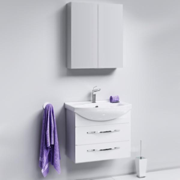 Аллегро 65 2 ящика подвесная БелаяМебель для ванной<br>Подвесная тумба под раковину Aqwella Аллегро 65 Agr.01.06/2 белая, с глянцевой поверхностью, с двумя выдвижными ящиками с хромированными ручками, для использования в ванных комнатах с повышенной влажностью. <br>Гармония, удобство и функциональность.<br>Материал: МДФ европейского производства.<br>Покрытие: пять слоев глянцевой белоснежной эмали.<br>Технология ультрафиолетового отверждения.<br>Идеально ровная и устойчивая к механическим повреждениям поверхность.<br>Внутреняя отделка: ДСП со структурой светлого дерева.<br>Лазерное нанесение кромки на все элементы из ДСП.<br>Экологически чистые материалы, сертификат качества: ISO 9001:2000.<br>Фурнитура Blum: надежность и долговечность. <br>Монтаж: подвесной, крепление к стене.<br>Усиленные навесы с ответными планками (CАMAR, Италия).<br>Максимальная нагрузка на навесы: до 200 кг.<br>Отделения:<br>верхнее: выдвижной ящик, два отсека;<br>нижнее: выдвижной ящик, один отсек.<br>Скрытые направляющие с системой мягкого закрывания (Blum).<br>Динамическая нагрузка на ящик: до 30 кг.<br>В комплекте поставки:<br>тумба.<br>