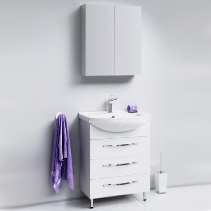 Аллегро 65 БелаяМебель для ванной<br>Тумба под раковину Aqwella Аллегро 65 Agr.01.06/3 белая, с глянцевой поверхностью, с тремя выдвижными ящиками с хромированными ручками, с двумя ножками, для использования в ванных комнатах с повышенной влажностью. <br>Гармония, удобство и функциональность.<br>Материал: МДФ европейского производства.<br>Покрытие: пять слоев глянцевой белоснежной эмали.<br>Технология ультрафиолетового отверждения.<br>Идеально ровная и устойчивая к механическим повреждениям поверхность.<br>Внутреняя отделка: ДСП со структурой светлого дерева.<br>Лазерное нанесение кромки на все элементы из ДСП.<br>Экологически чистые материалы, сертификат качества: ISO 9001:2000.<br>Фурнитура Blum: надежность и долговечность. <br>Монтаж: комбинированный. <br>Крепление к стене: два навеса. <br>Дополнительные напольные опоры: две ножки. <br>Усиленные навесы с ответными планками (CАMAR, Италия).<br>Максимальная нагрузка на навесы: до 200 кг.<br>Отделения:<br>верхнее: выдвижной ящик, два отсека;<br>центральное/нижнее: выдвижной ящик, один отсек.<br>Скрытые направляющие с системой мягкого закрывания (Blum).<br>Динамическая нагрузка на ящик: до 30 кг.<br>В комплекте поставки:<br>тумба.<br>