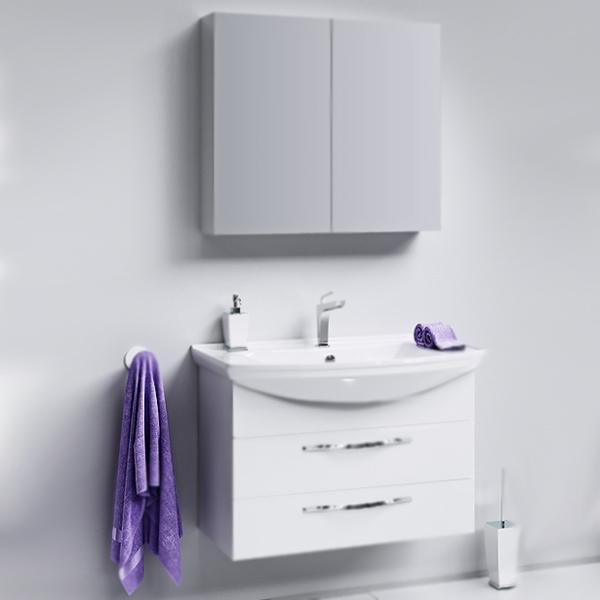 Аллегро 85 2 ящика подвесная БелаяМебель для ванной<br>Подвесная тумба под раковину Aqwella Аллегро 85 Agr.01.08/2 белая, с глянцевой поверхностью, с двумя выдвижными ящиками с хромированными ручками, для использования в ванных комнатах с повышенной влажностью. <br>Гармония, удобство и функциональность.<br>Материал: МДФ европейского производства.<br>Покрытие: пять слоев глянцевой белоснежной эмали.<br>Технология ультрафиолетового отверждения.<br>Идеально ровная и устойчивая к механическим повреждениям поверхность.<br>Внутреняя отделка: ДСП со структурой светлого дерева.<br>Лазерное нанесение кромки на все элементы из ДСП.<br>Экологически чистые материалы, сертификат качества: ISO 9001:2000.<br>Фурнитура Blum: надежность и долговечность. <br>Монтаж: подвесной, крепление к стене.<br>Усиленные навесы с ответными планками (CАMAR, Италия).<br>Максимальная нагрузка на навесы: до 200 кг.<br>Отделения:<br>верхнее: выдвижной ящик, два отсека;<br>нижнее: выдвижной ящик, один отсек.<br>Скрытые направляющие с системой мягкого закрывания (Blum).<br>Динамическая нагрузка на ящик: до 30 кг.<br>В комплекте поставки:<br>тумба.<br>