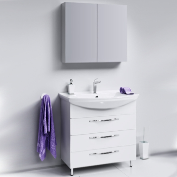 Аллегро 85 БелаяМебель для ванной<br>Тумба под раковину Aqwella Аллегро 85 Agr.01.08/3 белая, с глянцевой поверхностью, с тремя выдвижными ящиками с хромированными ручками, с двумя ножками, для использования в ванных комнатах с повышенной влажностью. <br>Гармония, удобство и функциональность.<br>Материал: МДФ европейского производства.<br>Покрытие: пять слоев глянцевой белоснежной эмали.<br>Технология ультрафиолетового отверждения.<br>Идеально ровная и устойчивая к механическим повреждениям поверхность.<br>Внутреняя отделка: ДСП со структурой светлого дерева.<br>Лазерное нанесение кромки на все элементы из ДСП.<br>Экологически чистые материалы, сертификат качества: ISO 9001:2000.<br>Фурнитура Blum: надежность и долговечность. <br>Монтаж: комбинированный. <br>Крепление к стене: два навеса. <br>Дополнительные напольные опоры: две ножки. <br>Усиленные навесы с ответными планками (CАMAR, Италия).<br>Максимальная нагрузка на навесы: до 200 кг.<br>Отделения:<br>верхнее: выдвижной ящик, два отсека;<br>центральное/нижнее: выдвижной ящик, один отсек.<br>Скрытые направляющие с системой мягкого закрывания (Blum).<br>Динамическая нагрузка на ящик: до 30 кг.<br>В комплекте поставки:<br>тумба.<br>