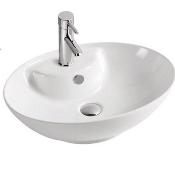 MR-5005 БелаяРаковины<br>Накладная раковина-чаша Mira MR-5005 51x41x15 в ванную комнату.<br>Дизайн: минималистичный, современные овальные элементы.<br>Выполнена из санфаянса, сохраняющего долгое время цвет и гладкость поверхности.<br>Модель умывальника MR-5005 с переливом и отверстием под смеситель.<br>