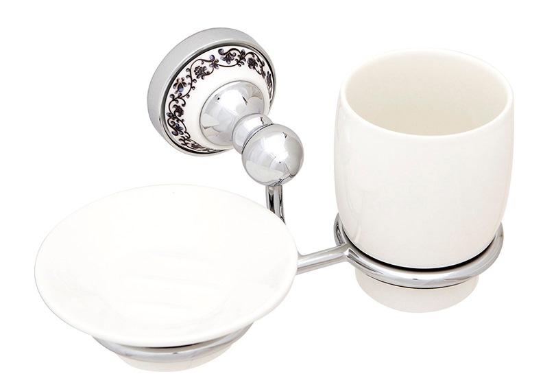 Стакан для зубных щеток с мыльницей Fixsen Bogema FX-78506+08 Хром Белый стакан для зубных щеток fixsen bogema gold fx 78506g золото белый
