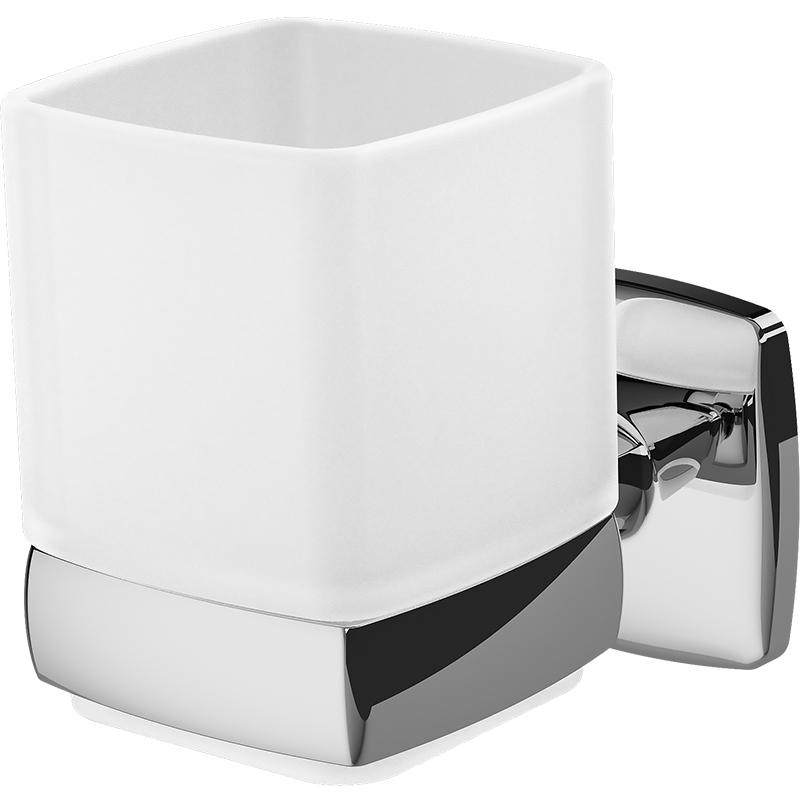 Gem A9034300 ХромАксессуары для ванной<br>Стакан для зубных щеток AM PM Gem A9034300.<br>Универсальный и лаконичный дизайн изделия отлично впишется в современный интерьер ванной комнаты.<br>Особенности:<br>Материал: стекло, цинк.<br>Цвет: белый, хром.<br>