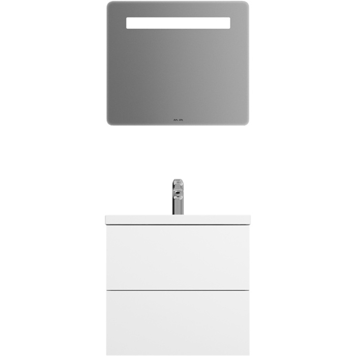 Gem 60 подвесной БелыйМебель для ванной<br>Комплект мебели AM PM Gem 60 с подвесной тумбой Gem 60 M90FSX06022WG белой глянцевой, с двумя выдвижными ящиками, с фарфоровой раковиной Gem 60 M90WCC0602WG, с зеркалом Gem 64 M90MOX0641WG с LED подсветкой. Для длительного срока службы в ванных комнатах с повышенной влажностью.<br>Тумба:<br>Дизайн от инновационной компании DanelonMeroni.<br>Безупречный баланс между функциональностью и дизайном.<br>Компактное решение: узкая база с глубокими ящиками.<br>Материал: высококачественный ДСП.<br>Покрытие: долговечные итальянские краски и эмали.<br>Специальная технология покраски в семь слоев.<br>Насыщенный цвет в течение всего срока службы.<br>Экологически чистые материалы.<br>Монтаж: подвесной, крепление к стене на двух навесах.<br>Удобный демонтаж без помощи инструментов, легкая регулировка.<br>Отделения:<br>верхнее: выдвижной ящик, разделители для удобного хранения;<br>нижнее: выдвижной ящик, один отсек.<br>Система Push to Open: ящики открываются нажатием на любую их часть.<br>Система Soft-Close: доводчики для плавного закрывания.<br>Максимальная нагрузка на ящик в сегменте: до 35 кг.<br>Надёжное соединение направляющей и ящика при помощи фиксатора.<br>Зеркало: <br>Подсветка: верхняя, LED, выключатель. <br>Монтаж: подвесной, крепление к стене на двух навесах.<br>Раковина:<br>Материал: сантехнический фарфор. Покрытие: глазурь. <br>Гигиеничная, износостойкая, плотная и гладкая поверхность.<br>Одно готовое отверстие под смеситель, перелив. <br>В комплекте поставки:<br>тумба Gem 60 M90FHX06022WG;<br>зеркало Gem 64 M90MOX0641WG;<br>раковина Gem 60 M90WCC0602WG.<br>