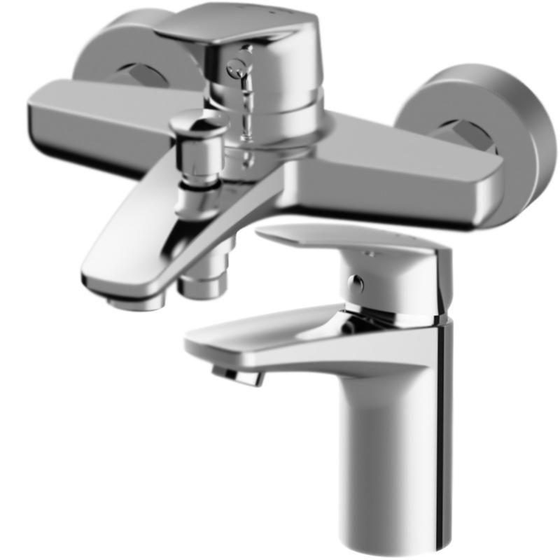 Gem для раковины F9093000 и для ванны F9010000 ХромСмесители<br>Комплект AM PM Gem из смесителя для раковины Gem F9093000 однорычажного, с аэратором, монтируемого в одно отверстие и смесителя для ванны Gem F9010000 однорычажного, монтируемого в два отверстия.      <br>Уникальная шестиугольная форма ручек и граней изливов.<br>Покрытие: глянцевый хром.<br>Материал: экологически безопасная латунь.<br>Фиксированный излив.<br>Удобный угол наклона аэратора.<br>Механизм: керамический картридж Soft Motion, D 3,5 см.<br>Низкий уровень шума.<br>Максимальная температура: 95 градусов.<br>Максимальный гидроудар: до 35 атмосфер.<br>Защита картриджа и аэратора от известковых отложений.<br>Обширная зона движения ручки: простое управление температурой.<br>Протестированы на 500 000 циклов включения.<br>В комплекте поставки:<br>смеситель для раковины Gem F9093000;<br>гибкая подводка G 3/8;<br>смеситель для ванны Gem F9010000;<br>комплект креплений.<br>