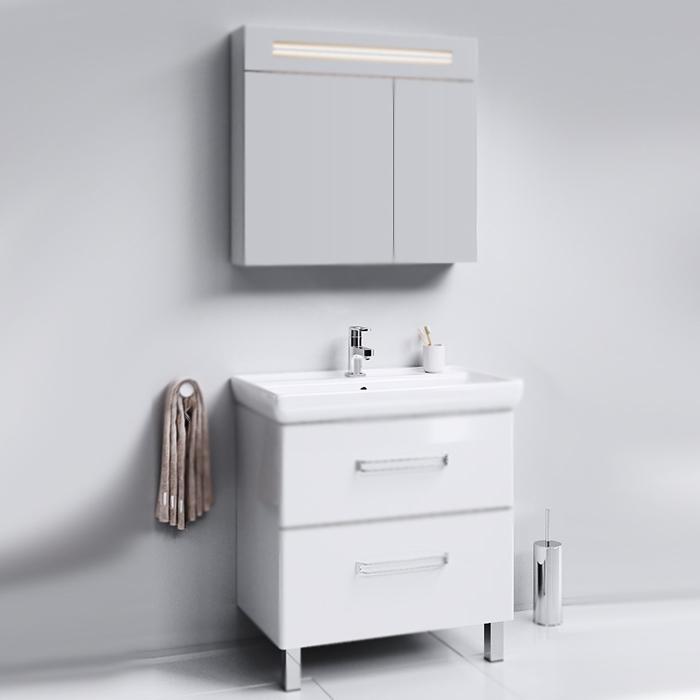 Нео 80 БелаяМебель для ванной<br>Тумба под раковину Aqwella Нео 80 Neo.01.08 белая, с глянцевой поверхностью, с двумя ножками, с двумя выдвижными ящиками. Для использования в ванных комнатах с повышенной влажностью. <br>Гармония, удобство и функциональность.<br>Материал: МДФ европейского производства.<br>Покрытие: четыре слоя белой глянцевой эмали.<br>Ручки и ножки: глянцевый хром.<br>Экологически чистые материалы.<br>Сертификат качества: ISO 9001:2000.<br>Фурнитура Blum: надежность и долговечность.<br>Монтаж: комбинированный.<br>Крепление к стене: два навеса.<br>Дополнительные напольные опоры: две ножки.<br>Отделения:<br>верхнее: выдвижной ящик, два отсека;<br>нижнее: выдвижной ящик, один отсек.<br>Система мягкого закрывания (Blum).<br>В комплекте поставки:<br>тумба.<br>