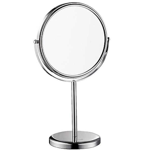K-1003 с увеличением ХромАксессуары для ванной<br>Настольное косметическое зеркало WasserKRAFT K-1003.<br>Изготовлено из латуни с хромоникелевым покрытием. Уплотнительные пластиковые кольца предотвращают расшатывание деталей.<br>Особенности:<br>Две поверхности: стандартная и с трехкратным увеличением.<br>Вращение зеркала на 360 градусов.<br>Противоскользящее основание обеспечивает большую устойчивость зеркала, а также защищает поверхность стола от царапин.<br>