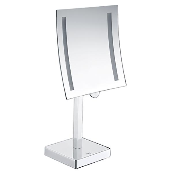 K-1007 с увеличением и подсветкой LED ХромАксессуары для ванной<br>Настольное одностороннее косметическое зеркало WasserKRAFT K-1007 с 3-кратным увеличением и LED-подсветкой.<br>Изготовлено из металла с хромоникелевым покрытием.<br>Холодный свет подсветки не искажает цвет лица, позволяя с комфортом наносить косметику или бриться. Кроме того, LED-подсветка зеркала служит дополнительным источником освещения.<br>Работает от 4 батареек типа AA.<br>Регулируемая длина ножки: 23-44 см.<br>