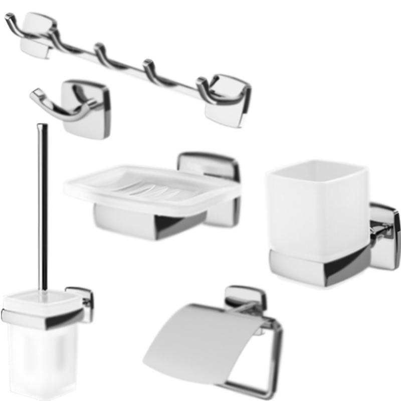 Gem 6 предметов Хром БелыйАксессуары для ванной<br>Набор настенных аксессуаров для ванной AM PM Gem из шести предметов.<br>Дизайн от инновационной компании DanelonMeroni. <br>Безупречный баланс между функциональностью и дизайном. <br>Материалы: стекло, хромированный цинк.<br>Мыльница с настенным держателем, ширина 12 см.<br>Стакан с настенным держателем, высота 10,5 см.<br>Двойной крючок для полотенец, ширина 7,5 см.<br>Крючки для полотенец, ширина 34,5 см.<br>Держатель для туалетной бумаги с крышкой, ширина 12,2 см.<br>Ершик для унитаза с настенным держателем, высота 37,25 см.<br>В комплекте поставки:<br>мыльница Gem A9034200;<br>стакан Gem A9034300;<br>крючок для полотенец Gem A9035600;<br>крючки для полотенец Gem A9035900;<br>держатель для туалетной бумаги Gem A90341400;<br>ершик для унитаза Gem A9033400.<br>