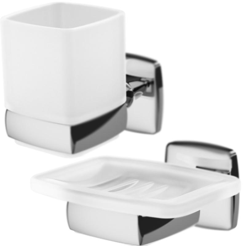 Gem 2 предмета Хром БелыйАксессуары для ванной<br>Набор настенных аксессуаров для ванной AM PM Gem из двух предметов.<br>Дизайн от инновационной компании DanelonMeroni. <br>Безупречный баланс между функциональностью и дизайном. <br>Материалы: стекло, хромированный цинк.<br>Мыльница с настенным держателем, ширина 12 см.<br>Стакан с настенным держателем, высота 10,5 см.<br>В комплекте поставки:<br>мыльница Gem A9034200;<br>стакан Gem A9034300.<br>