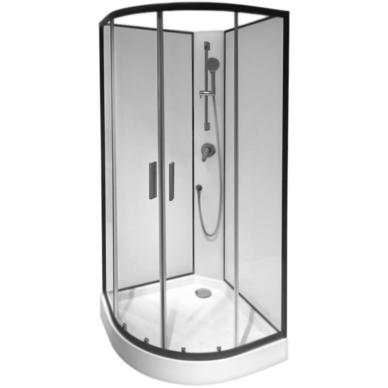 Joy 90х90 без гидромассажаДушевые кабины<br>Стеклянная душевая кабина AM PM Joy 90х90 W85C-001-090GT с открытым верхом, в форме четверти круга, с двумя раздвижными дверьми, с ручным душем, для установки в угол ванной комнаты.<br>Витраж: прозрачное стекло, толщина 5 мм.<br>Задние стенки: полупрозрачное стекло, толщина 4 мм.<br>Стекло: закаленное, ударопрочное, безопасное.<br>Профиль: алюминий цвета серый графит.<br>Поддон: белый акрил, H 15 см.<br>Однорежимный ручной душ со штангой и держателем.<br>Однорычажный смеситель.<br>Монтаж: угловой, пристенный.<br>В комплекте поставки:<br>передние стекла с дверьми; <br>задние стенки; <br>поддон; <br>смеситель;<br>лейка со штангой и держателем;<br>душевой шланг.<br>Поставляется в четырех коробках.<br>