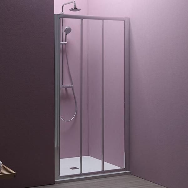 Luna TV3D/S 100 ХромДушевые ограждения<br>Душевая дверь в нишу Kolpa San Luna TV3D/S 100 с одной раздвижной дверью.<br><br>Профиль:<br>Материал: алюминий.<br>Цвет профиля: хром.<br>Покрытие Silver Brill: высококачественная гальваническая полировка.<br>Высокая герметичность.<br>Магнитный профиль.<br><br>Стекло:<br>Прозрачное закаленное стекло.<br>Толщина: 6 мм.<br>Двойные съемные ролики обеспечивают плавное открытие и закрытие дверцы.<br><br>Непревзойденное качество, подтвержденное европейским сертификатом.<br>