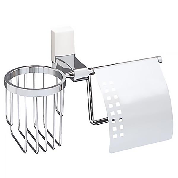 Держатель туалетной бумаги и освежителя WasserKRAFT Leine К-5059WHITE Хром держатель туалетной бумаги и освежителя wasserkraft leine k 5059white с крышкой