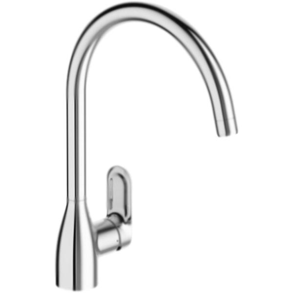 Kumin E99477-CP ХромСмесители<br>Высокий смеситель для кухни Jacob Delafon Kumin E99477-CP однорычажный, с аэратором, монтируемый в одно отверстие.<br>Экономия и удобство использования: чувствительный ограничитель воды.<br>Расход воды: 10 л/мин, при давлении 3 бар.<br>Безопасность: кольцо-ограничитель температуры воды.<br>Покрытие: глянцевый хром.<br>Материал: качественная латунь.<br>Механизм: керамический картридж.<br>Поворотный излив: 360 градусов, L 22,7 см.<br>Высота смесителя: 35 см.<br>Скрытый аэратор с антиизвестковым покрытием.<br>Удобный угол наклона аэратора.<br>Диаметр монтажного отверстия: 3,5 см.<br>Гибкая подводка: G 3/8.<br>Упрощённая установка.<br>Нормы: ACS: 10ACCLY113 - NF ECAU: E0 C3 A2 U3 (Ge5).<br>В комплекте поставки:<br>смеситель;<br>гибкая подводка;<br>комплект креплений.<br>