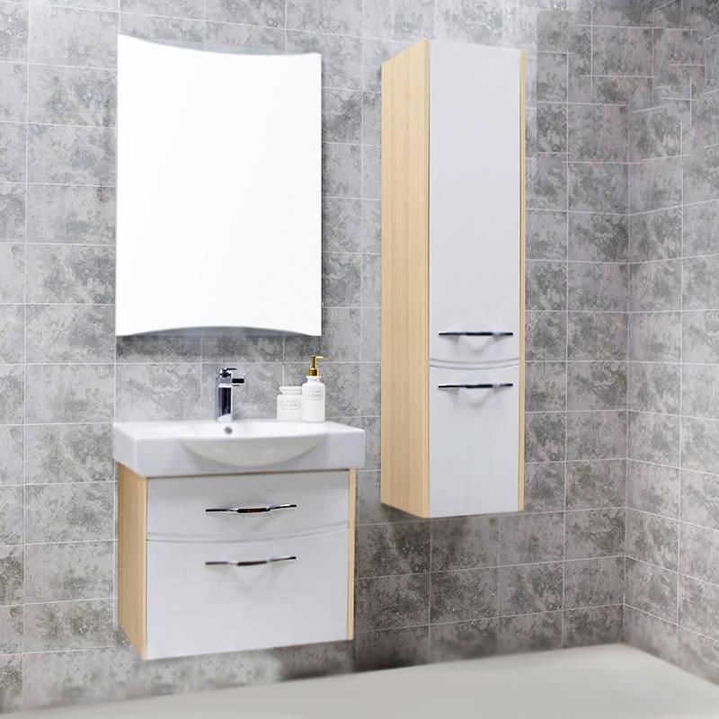 Инфинити 65 подвесная Ясень КоимбраМебель для ванной<br>Подвесная тумба под раковину Акватон Инфинити 65 1A196901IFSC0 комбинированного цвета белого и ясеня коимбра, с двумя выдвижными ящиками, с изящными хромированными ручками бельгийского производителя Metakor. Для использования в ванных комнатах с повышенной влажностью.<br><br>Стильный и лаконичный дизайн.<br>Изгибы фасадных линий повторяют форму лицевой фурнитуры.<br>Материал фасада: МДФ с пятислойной покраской.<br>Материал корпуса: ДСП с ламинированным покрытием.<br>Повышеная влагостойкость и сопротивляемость износу.<br>Стойкость к воздействиям бытовых химических средств.<br>Отсутствие вредных испарений.<br>Монтаж: подвесной, крепление к стене на двух навесах.<br>Предусмотрено нижнее подключение труб водоснабжения и канализации.<br><br><br>Отделения:<br>два выдвижных ящика.<br>Система плавного закрывания.<br><br><br>В комплекте поставки:<br>тумба.<br><br>