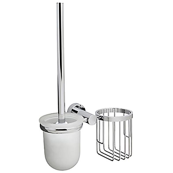 Donau K-9435 ХромАксессуары для ванной<br>Ершик для унитаза с держателем освежителя воздуха WasserKRAFT Donau K-9435 с настенным креплением.<br>Функциональная модель для ванных комнат в современном стиле.<br>Выполнен из металла с хромоникелевым покрытием. Устойчив к потускнению и царапинам, долго сохраняет зеркальный блеск.<br>Чаша для ершика изготовлена из матового стекла.<br>Монтаж: при помощи монтажной пластины. <br>В комплекте поставки: подвесной держатель, ершик для унитаза, набор креплений.<br>