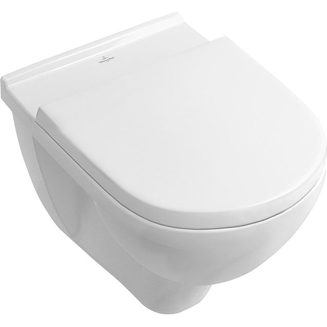 O NOVO 5660HRR1 подвесной Белый альпин с сиденьемУнитазы<br>Подвесной унитаз Villeroy&amp;Boch; O NOVO 5660HRR1.<br>Простой и изящный дизайн изделия великолепно дополнит интерьер ванной комнаты в современном или минималистичном стиле.<br>Особенности:<br>Технология Ceramic Plus: особое покрытие, обеспечивающее максимальную чистоту. Грязь и известковый налет не пристают к поверхности унитаза.. Для очищения присохших известковых пятен не нужны агрессивные моющие средства: они легко счищаются и смываются водой.<br>Открытый смывной край с технологией DirectFlush обеспечивает гигиеничность и простоту в уходе. Благодаря отсутствию кромки, не остается труднодоступных мест, которые нельзя было бы почистить. <br>Конструкция смывного края дает направленный поток воды, который омывает всю внутреннюю поверхность унитаза, не разбрызгивая воду.<br>Сиденье Soft Close - плавное открытие и закрытие крышки.<br>Легкосъемное сиденье с функцией QuickRelease.<br>Объем поставки: <br>Чаша унитаза,<br>Крышка-сиденье с микролифтом 9M38 S101.<br>Поставляется в единой упаковке.<br>