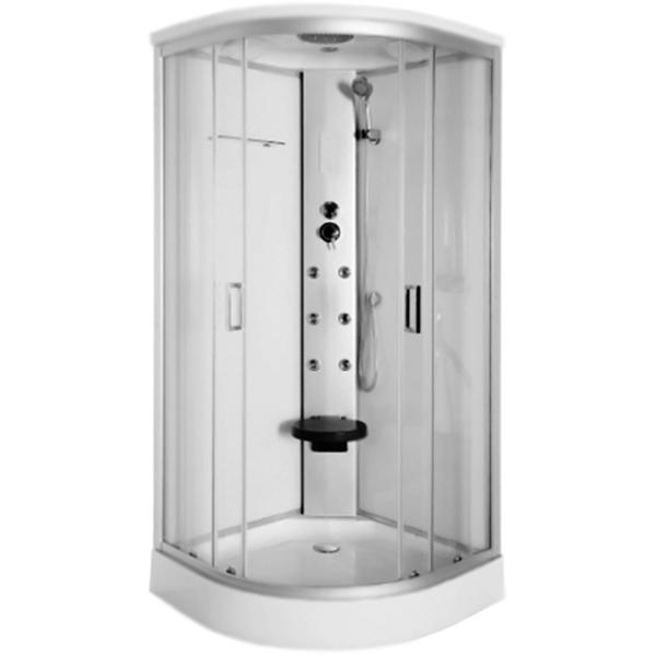 Capri 836 90x90 с гидромассажемДушевые кабины<br><br>Стеклянная душевая кабина Luxus Capri 836 90x90 в форме четверти круга, с гидромассажем, с двумя раздвижными дверьми, с крышей. Для установки в угол ванной комнаты.<br><br><br>Конструкция:<br>Витраж: прозрачное стекло, толщина 4 мм. <br>Задние стенки: белое стекло, толщина 4 мм.<br>Стекло: закаленное, ударопрочное, безопасное. <br>Профиль: алюминий серебристого цвета.<br>Цвет фурнитуры: глянцевый хром.<br>Верхние и нижние двойные металлические ролики со стальным подшипником.<br>Долговечность и плавность скольжения дверей.<br>Поддон: белый акрил/ABS, антискользящее покрытие, H 15 см.<br>Рама поддона: гальванизированная, с регулируемыми ножками.<br>Монтаж: угловой, пристенный.<br><br><br>Функциональность:<br>Система Easy Clean: лёгкая очистка от известковых отложений.<br>Гидромассаж: 6 форсунок.<br>Верхний душ: круглый, тропический, D 19,4 см.<br>Ручной душ: D 8,9 см, 3 режима.<br>Режимы ручного душа: дождевые струи, массаж, дождевые струи + массаж.<br>Держатель ручного душа: регулировка угла наклона (3 положения).<br>Элегантная полочка для шампуней.<br>Подсветка: верхняя, LED.<br>Вентиляция, радио.<br>Сенсорная панель управления.<br>Защита электрооборудования от перегорания.<br>Однорычажный эргономичный смеситель.<br>Откидное сидение.<br><br><br>В комплекте поставки:<br>передние стекла с дверьми, задние стенки, поддон;<br>смеситель, верхний душ;<br>ручной душ с держателем и шлангом;<br>форсунки гидромассажа;<br>полка, откидное сидение, сифон.<br><br>