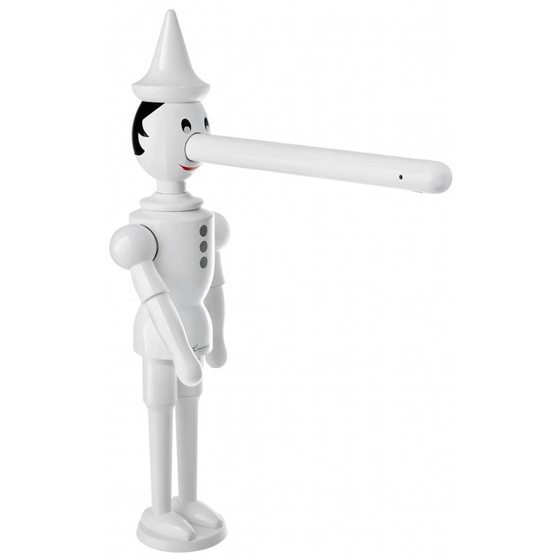 Pinocchio 1887 БелыйСмесители<br>Смеситель для кухни Emmevi Pinocchio BC 1887.<br>Оригинальный смеситель в виде Пиноккио разработан в сотрудничестве с дизайнером Бруно Негри. Он сочетает в себе воображение и функциональность, а своим внешним видом порадует не только детей, но и взрослых.<br>Материал: качественная латунь.<br>Цвет: белый.<br>Высота: 37,8 см.<br>Длина излива: 20,6 см, высота до излива: 27,9 см.<br>Монтаж: на раковину или на столешницу.<br>С поворотным изливом.<br>