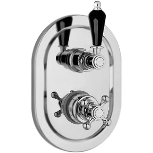 Vintage VINTAGE-VDIM2-T черная ручка Золото 24 каратаСмесители<br><br>Термостат для ванны и душа Cezares Vintage VINTAGE-VDIM2-T-03/24-Sw-N с переключателем на два потока воды, встраиваемый в одно отверстие. Смелое украшение в свете модных тенденций: сверкающий черный кристалл Swarovski на каплевидной ручке дополнен винтажными очертаниями корпуса смесителя. Этот образец безупречного мастерства несомненно создаст изысканный акцент, умело вплетая дух старины и ностальгии в современный интерьер.<br><br><br>Поверхность: золото 24 карата.<br>Ручка: кристалл Swarovski черного цвета.<br>Корпус: высококачественная латунь.<br>Декоративная овальная накладка.<br>Механизм: термостатический картридж.<br>Переключатель потоков: двухпозиционный.<br>Стандарт подключения: G 1/2, G 3/4.<br>Рабочий интервал давления: 0,5-6 Атм.<br><br><br>В комплекте поставки:<br>внешняя часть смесителя;<br>внутренняя часть смесителя;<br>комплект креплений.<br><br>