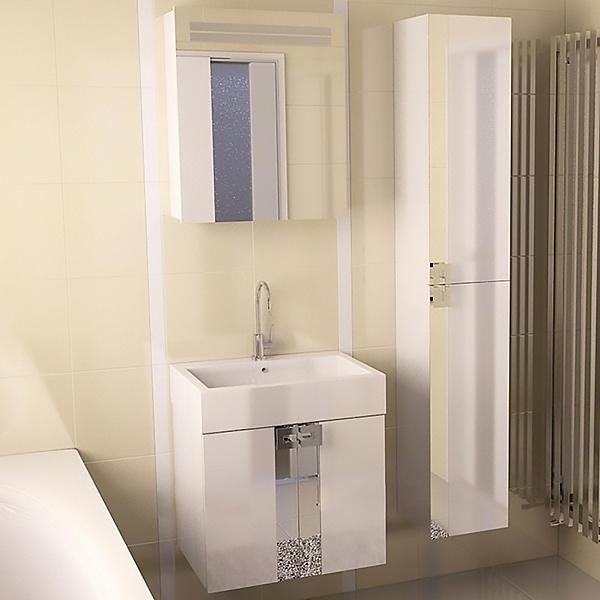 Point 60 подвесная Белый глянецМебель для ванной<br>Тумба под раковину Edelform Point 60 1-552-00-E60 подвесная.<br>Современная модель тумбы для ванной комнаты.<br>Изготовлена из МДФ повышенной плотности.<br>Покрытие: Edelform Crystal с применением эмали Milesi (Италия).<br>Запеченная кромка корпусных деталей обеспечивает долговечность.<br>Экологическая безопасность всех материалов.<br>Две распашные дверцы со встроенными доводчиками.<br>Цвет фасада и корпуса: белый глянец.<br>Стеклянные вставки.<br>Монтаж: подвесная.<br>Гладкая глянцевая поверхность.<br>Габариты: 59x45x50 см.<br>В комплекте поставки: тумба.<br>