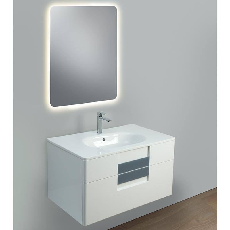 Glass II 85 подвесная Белый глянецМебель для ванной<br>Тумба под раковину Edelform Glass II 85 подвесная.<br>Современная модель тумбы для ванной комнаты с двумя вместительными ящиками.<br>Материал фасада: МДФ, материал корпуса: ЛДСП.<br>Покрытие: Edelform Crystal с применением эмали Milesi (Италия).<br>Запеченная кромка корпусных деталей обеспечивает долговечность.<br>Экологическая безопасность всех материалов.<br>Выдвижные ящики с направляющими скрытого монтажа и встроенными доводчиками.<br>Органайзер в верхнем ящике.<br>Цвет фасада и корпуса: белый глянец.<br>Стеклянная ручка серого цвета.<br>Регулируемые навесы.<br>Монтаж: подвесная.<br>Гладкая глянцевая поверхность.<br>Габариты: 87,6x53x51 см.<br>В комплекте поставки: тумба. Поставляется в собранном виде.<br>