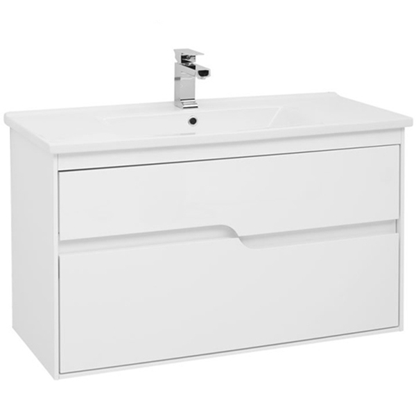 Модена 100 подвесная Белый глянецМебель для ванной<br>Тумба под раковину Aquanet Модена 100 00198489 подвесная.<br>Предназначена для тех, кто хочет создать особую атмосферу в своей ванной комнате. Белоснежный корпус с гладкой глянцевой поверхностью.<br>Сочетание оригинальности и функциональности.<br>Габариты тумбы: 100х58х45 см.<br>Материал корпуса и фасада: МДФ.<br>Внутренние детали (боковины и днище ящиков) – из ВЛДСП в цвете дуб сонома.<br>Покрытие: Краска/глянец.<br>Монтаж: подвесной.<br>Отделения:<br>Два выдвижных ящика на стальных направляющих Hettich.<br>Встроенные доводчики для плавного движения.<br>В комплекте поставки: тумба.<br>