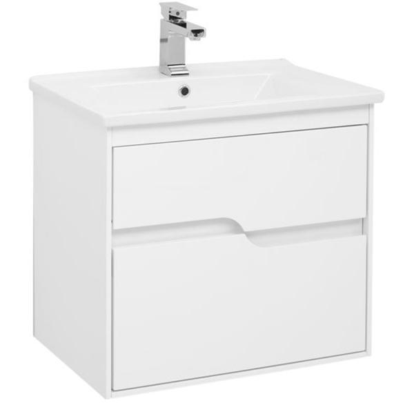 Модена 65 подвесная Белый глянецМебель для ванной<br>Тумба под раковину Aquanet Модена 65 00198485 подвесная.<br>Предназначена для тех, кто хочет создать особую атмосферу в своей ванной комнате. Белоснежный корпус с гладкой глянцевой поверхностью.<br>Сочетание оригинальности и функциональности.<br>Габариты тумбы: 65х58х45 см.<br>Материал корпуса и фасада: МДФ.<br>Внутренние детали (боковины и днище ящиков) – из ВЛДСП в цвете дуб сонома.<br>Покрытие: Краска/глянец.<br>Монтаж: подвесной.<br>Отделения:<br>Два выдвижных ящика на стальных направляющих Hettich.<br>Встроенные доводчики для плавного движения.<br>В комплекте поставки: тумба.<br>