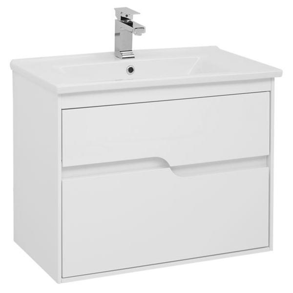 Модена 75 подвесная Белый глянецМебель для ванной<br>Тумба под раковину Aquanet Модена 75 00198486 подвесная.<br>Предназначена для тех, кто хочет создать особую атмосферу в своей ванной комнате. Белоснежный корпус с гладкой глянцевой поверхностью.<br>Сочетание оригинальности и функциональности.<br>Габариты тумбы: 75х58х45 см.<br>Материал корпуса и фасада: МДФ.<br>Внутренние детали (боковины и днище ящиков) – из ВЛДСП в цвете дуб сонома.<br>Покрытие: Краска/глянец.<br>Монтаж: подвесной.<br>Отделения:<br>Два выдвижных ящика на стальных направляющих Hettich.<br>Встроенные доводчики для плавного движения.<br>В комплекте поставки: тумба.<br>