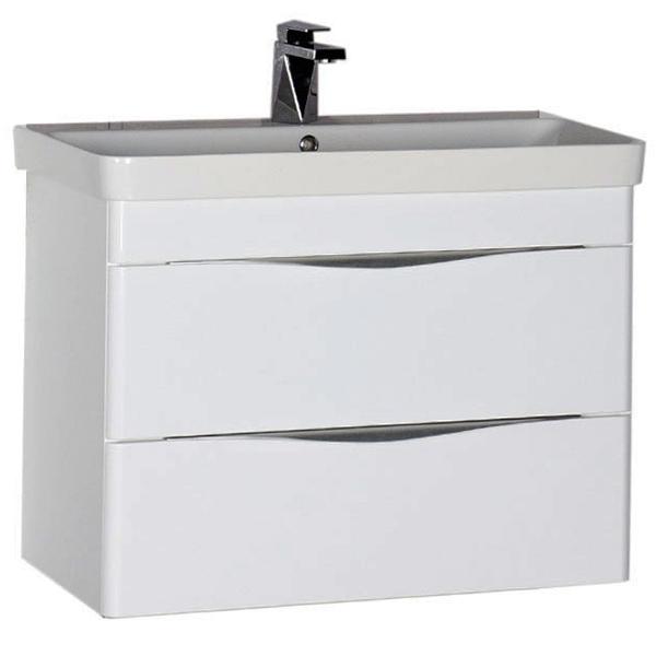 Орлеан 80 подвесная БелаяМебель для ванной<br>Тумба под раковину Aquanet Орлеан 80 00183082 подвесная.<br>Углы корпуса тумбы выполнены закруглёнными. Оригинальная форма ручек, словно застывший металл, волнообразно стекающий с каждого ящика, делает зону хранения тумбы очень удобной в использовании.<br>Подходит для использования в ванных комнатах с повышенной влажностью.<br>Габариты тумбы: 80х65х46 см.<br>Материал корпуса: Влагостойкий ЛДСП.<br>Материал фасада: МДФ.<br>Цвет фурнитуры: Матовый хром.<br>Покрытие: Краска/глянец.<br>Монтаж: подвесной.<br>Отделения:<br>Два выдвижных ящика для хранения банных принадлежностей.<br>Механизм доводчика для легкого и плавного движения.<br>В комплекте поставки: тумба.<br>