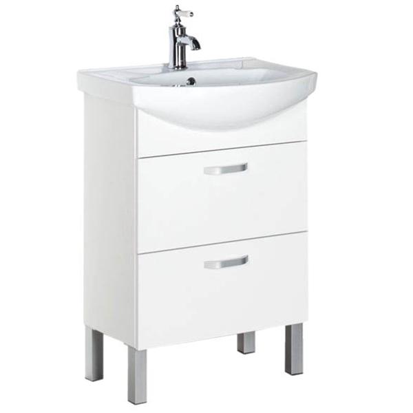 Алькона 60 2 ящика БелаяМебель для ванной<br>Тумба под раковину Aquanet Алькона 60 00183309 напольная с двумя ящиками.<br>Универсальный белый цвет тумбы позволяет ей гармонично влиться в интерьер любой цветовой гаммы.<br>Идеальна для ванной комнаты небольших и средних размеров.<br>Габариты тумбы: 55.4х85.2х44 см.<br>Материал корпуса и фасада: Влагостойкий ЛДСП.<br>Цвет фурнитуры: Матовый хром.<br>Покрытие: Ламинат/глянец.<br>Установка: Напольная.<br>Отделения:<br>Два выдвижных ящика на стальных направляющих.<br>Механизм доводчика для плавного и плотного закрывания ящиков.<br>В комплекте поставки: тумба.<br>