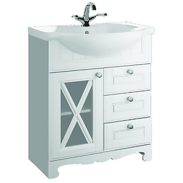 Дижон 65 Белый матовыйМебель для ванной<br>Тумба под раковину Aqualife Design Дижон 65 1-261-032-ER65.<br>Воздушный и изящный дизайн тумбы украсит ванную комнату в стиле кантри или прованс.<br>Изготовлена из ДСП/МДФ, покрытие матовой пленкой.<br>Три выдвижных ящика.<br>Одна распашная дверка со вставками из матового стекла.<br>Цвет: белый матовый.<br>Ручки: матовый хром.<br>Монтаж: напольный.<br>Гладкая поверхность.<br>Габариты: 57x53x81 см.<br>В комплекте поставки: тумба.<br>