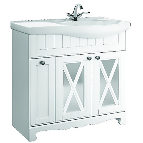 Дижон 82 Белый матовыйМебель для ванной<br>Тумба под раковину Aqualife Design Дижон 65 1-261-032-ER65.<br>Воздушный и изящный дизайн тумбы украсит ванную комнату в стиле кантри или прованс.<br>Изготовлена из ДСП/МДФ, покрытие матовой пленкой.<br>Распашные дверки со вставками из матового стекла.<br>Цвет: белый матовый.<br>Ручки: матовый хром.<br>Монтаж: напольный.<br>Гладкая поверхность.<br>Габариты: 79x51,5x81 см.<br>В комплекте поставки: тумба.<br>