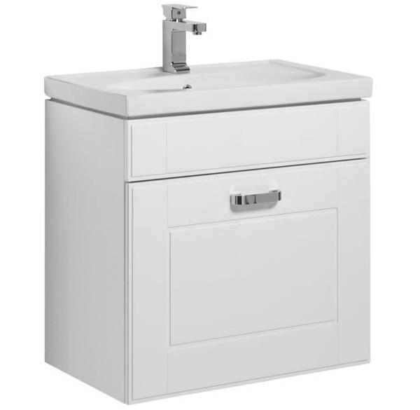 Рондо 60 подвесная 1 ящик БелаяМебель для ванной<br>Тумба под раковину Aquanet Рондо 60 00189158 напольная для ванной комнаты в стиле модерн.<br>Корпус тумбы изготовлен из влагостойкой ЛДСП со специальным многослойным покрытием краской, фасад – из МДФ. Поверхность изделия глянцевая, что придает ноту изысканности.<br>Конструкция: 1 выдвижной ящик с доводчиками для плавного бесшумного закрывания.<br>Габариты изделия: 61 х 65.5 х 44.5 см.<br>Цвет мебели: Белый.<br>Фурнитура: удобные ручки высокого качества цвета Хром.<br>Объем поставки: тумба под раковину, крепления.<br>