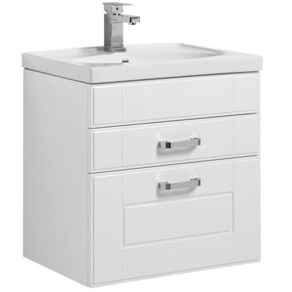 Рондо 60 подвесная 2 ящика Белый антикМебель для ванной<br>Тумба под раковину Aquanet Рондо 60 00196777 напольная для ванной комнаты в стиле модерн.<br>Корпус тумбы изготовлен из влагостойкой ЛДСП со специальным многослойным покрытием краской, фасад – из МДФ. Поверхность изделия глянцевая. На фасаде, внутри фрезеровки, нанесена тонкая серебристая полоска, которая имитирует эффект патины, что придает изделию ноту изысканности.<br>Конструкция: 2 выдвижных ящика с доводчиками для плавного бесшумного закрывания.<br>Габариты изделия: 61 х 65.5 х 44.5 см.<br>Цвет мебели: Белый  антик.<br>Фурнитура: удобные ручки высокого качества цвета Хром.<br>Объем поставки: тумба под раковину, крепления.<br>