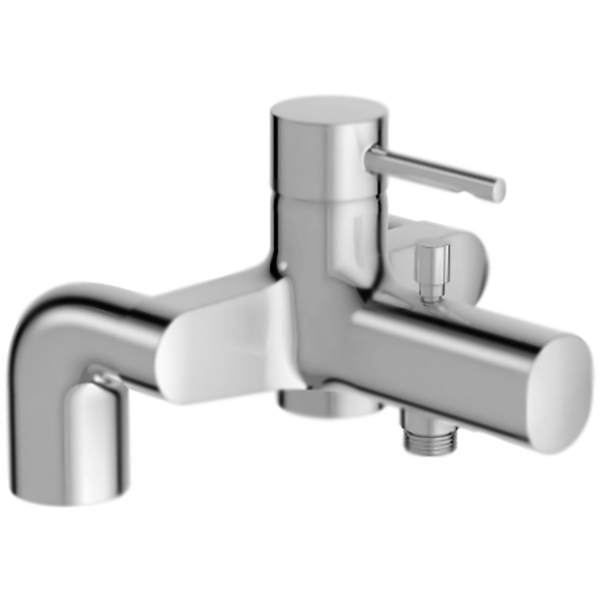 Cuff E37043-CP ХромСмесители<br><br>Смеситель на борт ванны Jacob Delafon Cuff E37043-CP однорычажный, с аэратором, устанавливаемый на деку.<br><br><br>Точный контроль: снижение колебаний температуры.<br>Расход воды: 20 л/мин при давлении 3 бара.<br>Поверхность: глянцевый хром.<br>Корпус: высококачественная латунь.<br>Излив: фиксированный, L 16,5 см.<br>Аэратор: антиизвестковое покрытие.<br>Механизм: керамический картридж.<br>Переключатель душ/излив: автомат.<br>Расстояние между центрами креплений: 15 см.<br>Стандарт подключения: G 1/2.<br><br><br>В комплекте поставки:<br>смеситель;<br>комплект креплений.<br><br>
