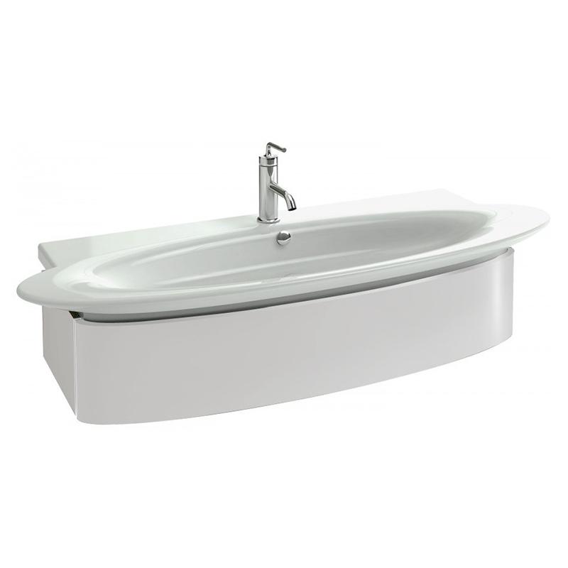 Presquile 109 подвесная Белый блестящий лакМебель для ванной<br>Подвесная тумба под раковину Jacob Delafon Presquile 109 EB1101-G1C.<br><br><br>Тумба коллекции Presquile выполнена в элегантном стиле с преобладанием мягких округлых линий. Она сочетает в себе лаконичность и функциональность. Мебель этой серии отлично впишется в интерьер ванной комнаты в современном дизайне.<br><br><br><br>Габариты изделия: 109x24,1x45 см.<br>1 выдвижной ящик с механизмом плавного закрытия.<br>Секции для хранения аксессуаров внутри ящика.<br>Встроенные ручки.<br>Материал корпуса: влагостойкая ЛДСП.<br>Материал фасада: влагостойкая МДФ.<br>Монтаж настенный.<br><br><br>Объем поставки: тумба под умывальник, крепления.<br>
