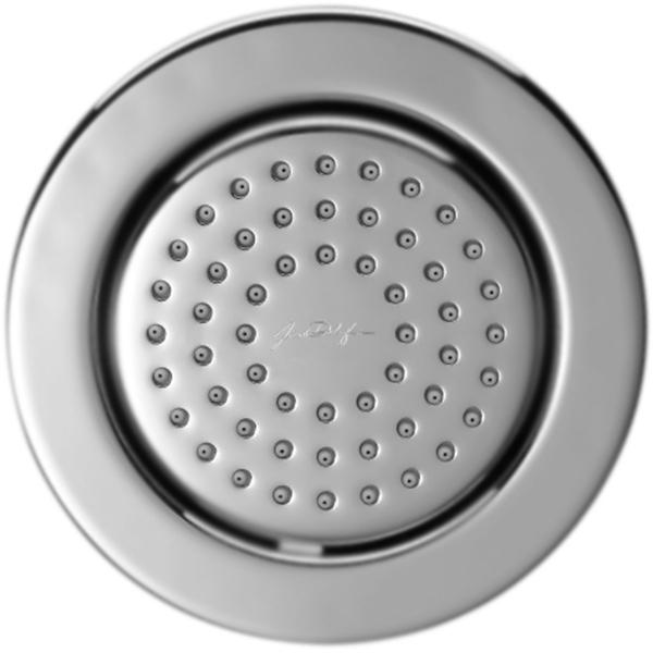Watertile E8014-CP ХромДушевые гарнитуры<br>Встраиваемая душевая форсунка Watertile E8014-CP поворотная, круглая.<br>Конструкция:<br><br>Поверхность: глянцевый хром.<br>Защита от известковых отложений.<br>Легкая очистка влажной тканью.<br>Выпускные отверстия: 54 шт.<br>Расход воды: до 7,5 л/мин.<br>Стандарт подключения: G 1/2.<br><br>В комплекте поставки:<br><br>душевая форсунка.<br><br>