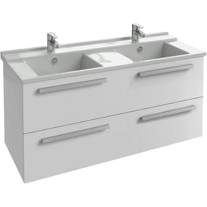 Struktura 117 подвесная 2 ящика Белый блестящийМебель для ванной<br>Подвесная тумба под раковину Jacob Delafon Struktura 117 EB1279-N18 с двумя выдвижными ящиками.<br><br><br>Тумба коллекции Struktura выполнена в строгом стиле с прямыми линиями и углами. Она сочетает в себе лаконичный дизайн и продуманную функциональность. Мебель этой серии отлично впишется в интерьер ванной комнаты в современном или хай-тек стиле.<br><br><br><br>Габариты изделия: 117x56x47 см.<br>2 выдвижных ящика с механизмом плавного закрытия.<br>Материал корпуса: влагостойкая ЛДСП.<br>Материал фасада: влагостойкая МДФ.<br>Монтаж настенный.<br><br><br>Объем поставки: тумба под умывальник, крепления.<br>