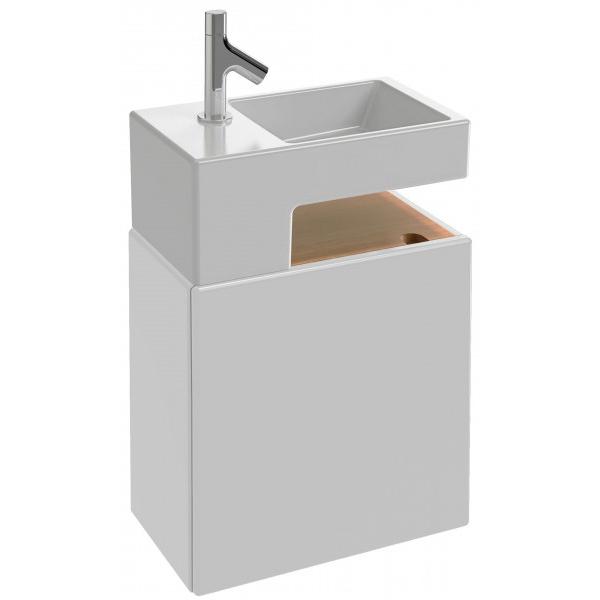 Terrace 50 подвесная Белый блестящий лакМебель для ванной<br>Подвесная тумба под раковину Jacob Delafon Terrace 50 EB1178-G1C.<br><br><br>Тумба коллекции Terrace выполнена в элегантном стиле с плавными округлыми углами. Она сочетает в себе лаконичный дизайн и продуманную функциональность, позволяя оптимизировать пространство для хранения ванных аксессуаров. Мебель этой серии отлично впишется в интерьер ванной комнаты в современном стиле.<br><br><br><br>Габариты изделия: 49,5x49,5x28 см.<br>1 распашная дверца с механизмом плавного закрытия, петли слева.<br>1 полка с отделкой из натурального дерева.<br>Материал корпуса: влагостойкая ЛДСП, древесина.<br>Материал фасада: влагостойкая МДФ.<br>Монтаж настенный.<br><br><br>Объем поставки: тумба под умывальник, крепления.<br>