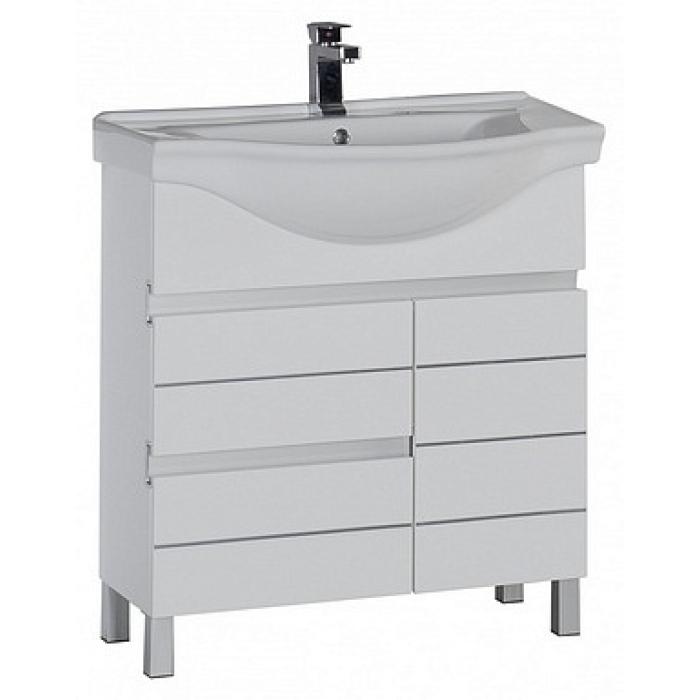 Доминика 90 напольная БелыйМебель для ванной<br>Тумба под раковину Aquanet Доминика 90 00177268 напольная.<br>Дизайн: современный стиль, оригинальные ручки - прорези и ритм, создаваемый горизонтальными элементами отделки подчеркивают неординарность и экзотичность.<br>Технические характеристики:  <br> Габариты тумбы: 87x 32,5 x 80,5 см,<br> форма: прямоугольная,<br>материал : ДСП/МДФ,<br>покрытие корпуса: эмаль, глянцевое,<br>цвет: белый,<br>фурнитура: хром, <br>монтаж: напольный,<br>оснащение: крепления, механизм доводчика,<br>тумба с 2 выдвижными ящиками, 1 распашная дверца.<br>В комплекте поставки: тумба для ванной. <br>Мебель не боится влажности и устойчива к бытовой химии.<br>