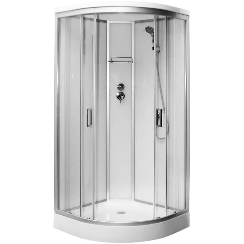Berg T09 90x90 без гидромассажаДушевые кабины<br>Стеклянная душевая кабина Luxus Berg T09 90x90 в форме четверти круга, с двумя раздвижными дверьми, с крышей. Для установки в угол ванной комнаты.<br>Конструкция:<br><br>Витраж: прозрачное стекло, толщина 4 мм. <br>Задние стенки: белое стекло, толщина 4 мм.<br>Центральная панель: белое стекло, толщина 5 мм.<br>Стекло: закаленное, ударопрочное, безопасное. <br>Профиль: алюминий цвета Sandy Silver (матовый хром).<br>Две раздвижные двери. <br>Ширина дверного проёма: 48 см. <br>Дверные  ручки: хромированные, двухточечные. <br>Верхние двойные ролики, нижние одинарные ролики. <br>Поддон: белый акрил/ABS, антискользящее покрытие, H 16 см.<br>Рама поддона: гальванизированная, с регулируемыми ножками.<br>Сифон с гидрозатвором и гофротрубой 40/50. <br>Монтаж: угловой, пристенный.<br><br>Функциональность:<br><br>Верхний душ: круглый, тропический, D 19,4 см.<br>Ручной душ: D 8,9 см, 3 режима.<br>Держатель ручного душа: регулировка угла наклона.<br>Удобная полочка для шампуней.<br>Вентиляция.<br>Однорычажный эргономичный смеситель.<br><br>В комплекте поставки:<br><br>передние стекла с дверьми, задние стенки, крыша;<br>смеситель, верхний душ;<br>ручной душ с держателем и шлангом;<br>поддон, сифон.<br><br>