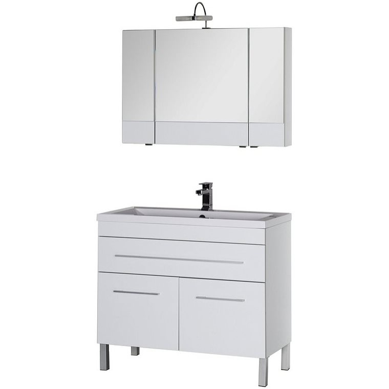 Верона 100 БелыйМебель для ванной<br>Тумба под раковину Aquanet Акванет Верона 100 00182710 напольная. <br>Дизайн: современный стиль.<br>Технические характеристики:  <br> Габариты тумбы: 99,2 x 83,2 x 47,4 см,<br>форма: прямоугольная,<br>материал : ДСП/МДФ,<br>цвет: белый,<br>фурнитура: хром, <br>монтаж: напольный,<br>оснащение: крепления, механизм доводчика,<br>тумба с 2 распашными дверцами, 1выдвижной ящик.<br>В комплекте поставки: тумба для ванной. <br>Мебель не боится влажности и устойчива к бытовой химии.<br>