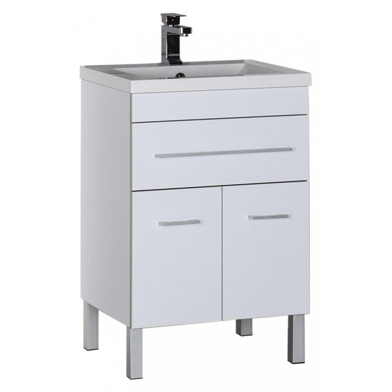 Верона 58 БелаяМебель для ванной<br>Тумба под раковину Aquanet Акванет Верона 58 00182507 напольная. <br>Дизайн: выдержано в стиле модерн.<br>Технические характеристики:  <br> Габариты тумбы: 75 x 87,5 x 48 см,<br>форма: прямоугольная,<br>материал : ДСП/МДФ,<br>цвет: белый,<br>фурнитура: хром, <br>монтаж: напольный,<br>оснащение: крепления, механизм доводчика,<br> тумба с 2 распашными дверцами, 1выдвижной ящик.<br>В комплекте поставки: тумба для ванной. <br>Мебель не боится влажности и устойчива к бытовой химии.<br>