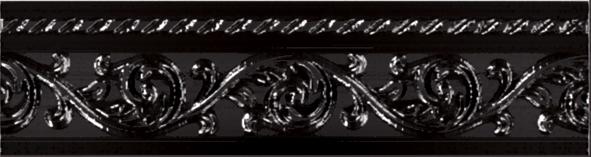 Керамический бордюр Carmen Caprichosa Moldura Yara Negro 4х15 см цена в Москве и Питере