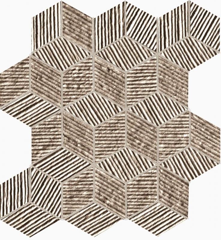 цены Керамическая мозаика Fap Ceramiche Lumina Glam Taupe Cube Mosaico 22,5х26 см